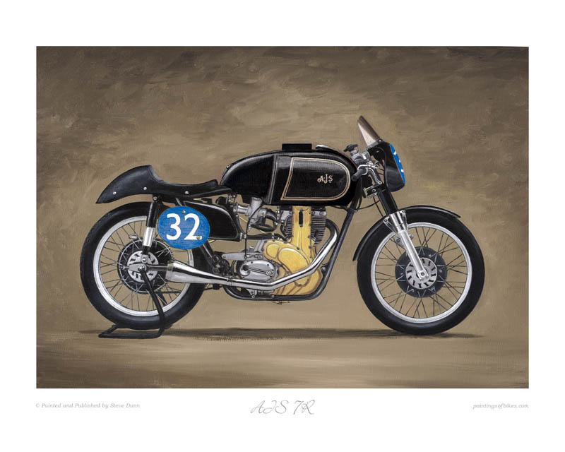 AJS 7R motorcycle art print