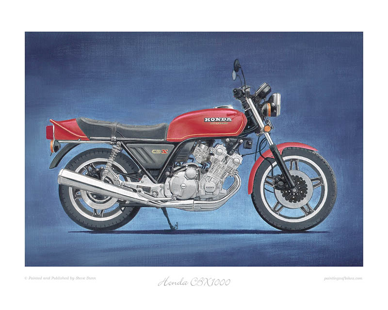 Honda CBX1000A red motorcycle art print