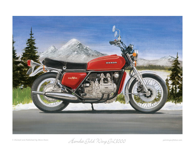 Honda Gold Wing GL1000 Motorcycle Art Print by Steve Dunn