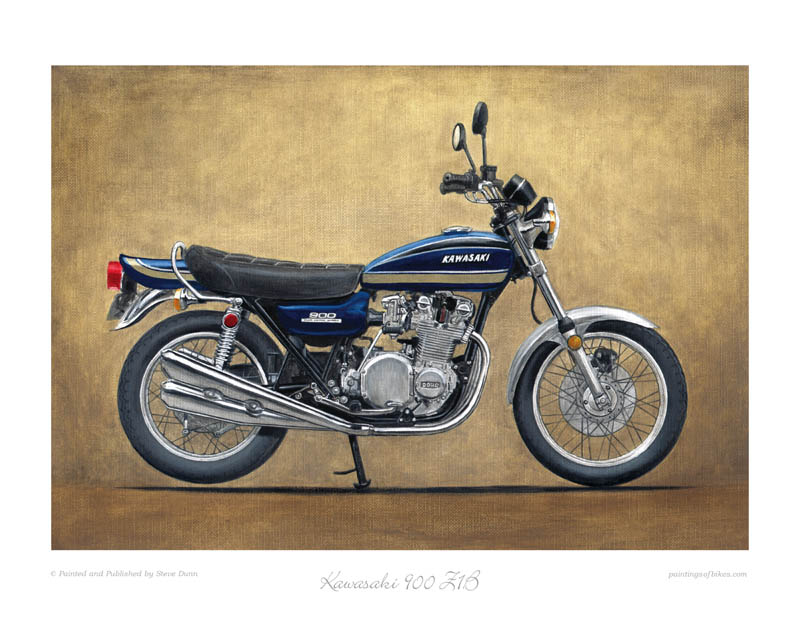Kawasaki 900 Z1B blue motorcycle art print