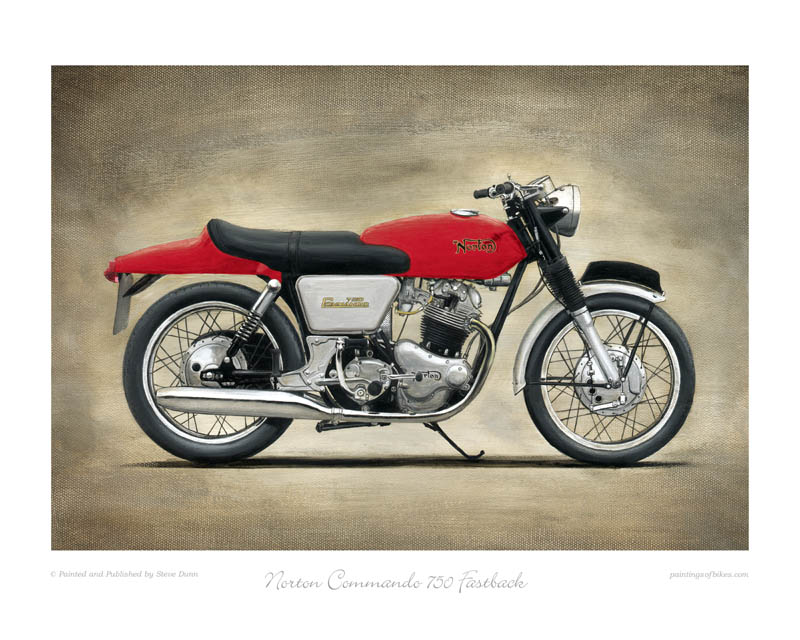 Norton Commando 750 Fastback motorcycle art print