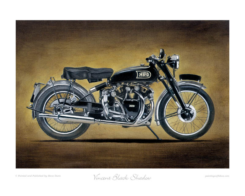 Vincent Black Shadow motorcycle art print