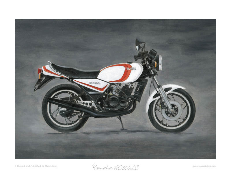Yamaha RD350LC white with two red stripes motorcycle art print